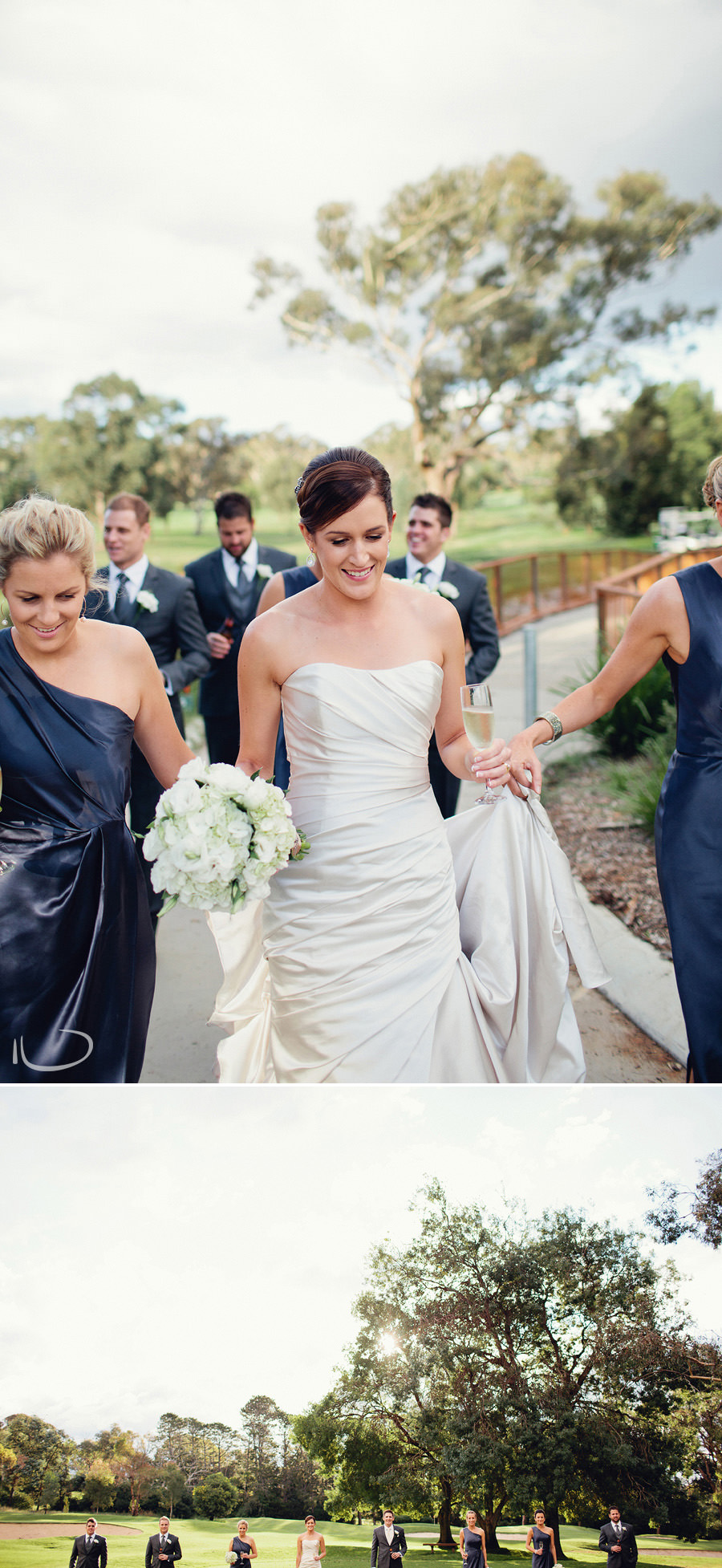 Federal Golf Club Wedding Photographer: Bridal party on golf course
