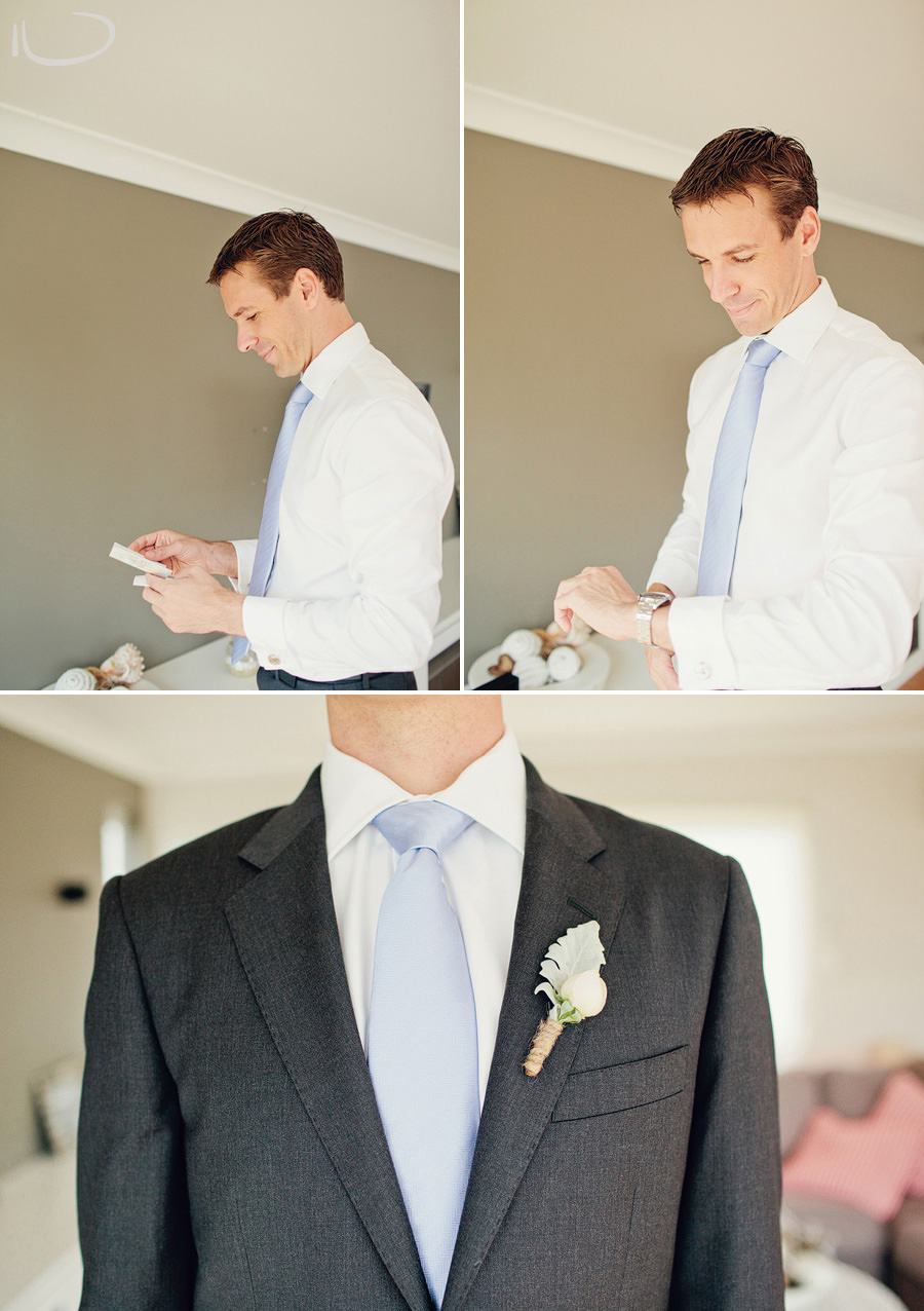 Northern Beaches Wedding Photography: Groom opening present from bride