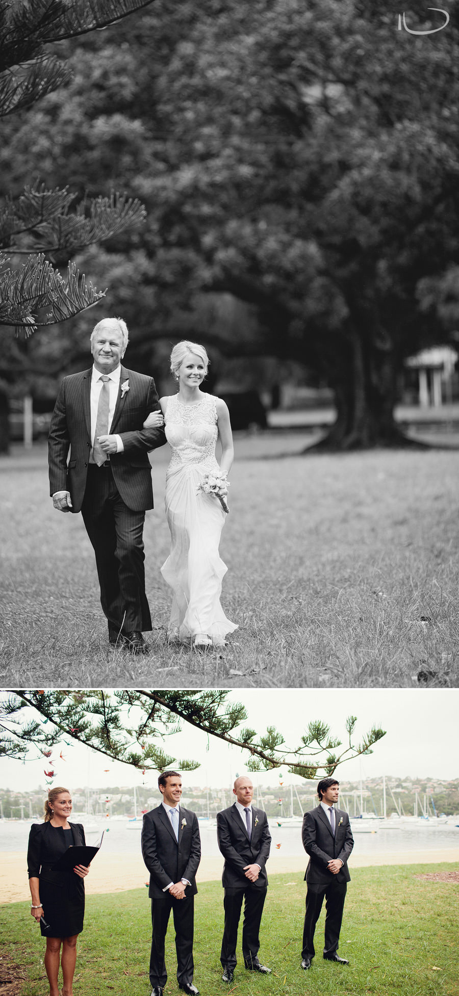 Northern Beaches Wedding Photography: Bride & father walking down the aisle