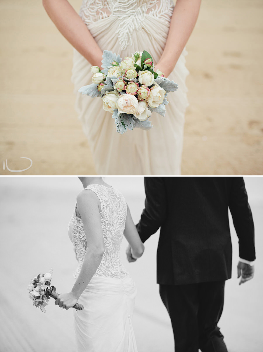 Sydney Wedding Photographers: Bride & Groom holding hands walking along beach