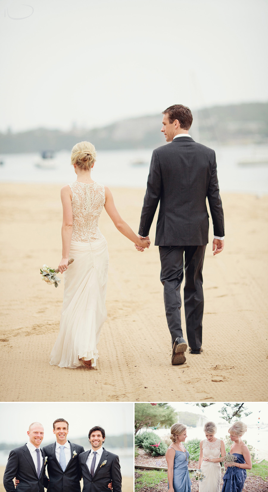 Sydney Wedding Photography: Bride & Groom holding hands walking along beach