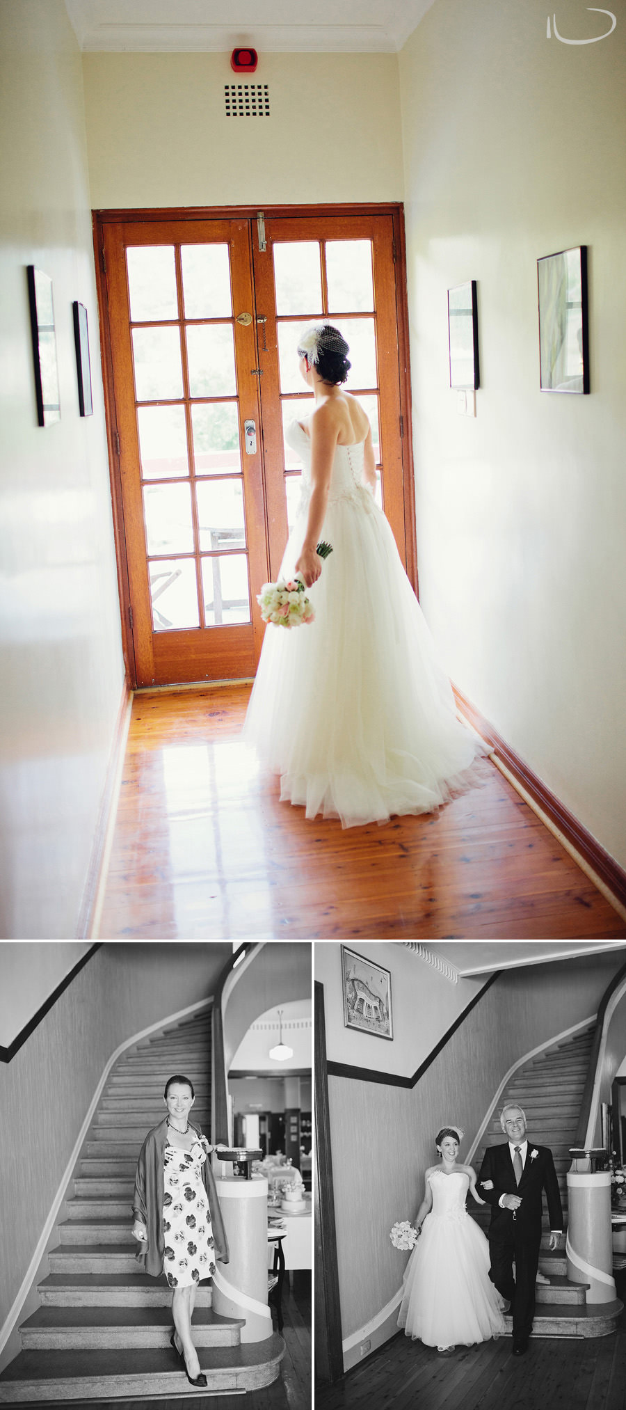 Bathurst Wedding Photography: Bride walking down the stairs