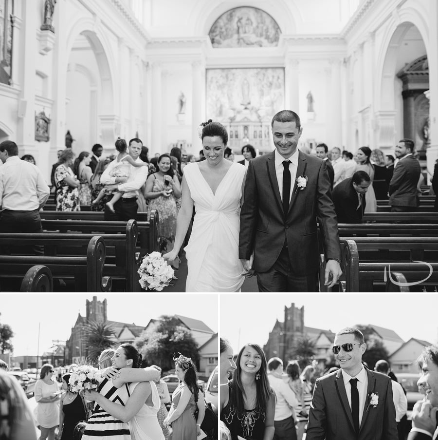 Candid Wedding Photographer: Bride & Groom walking down the aisle