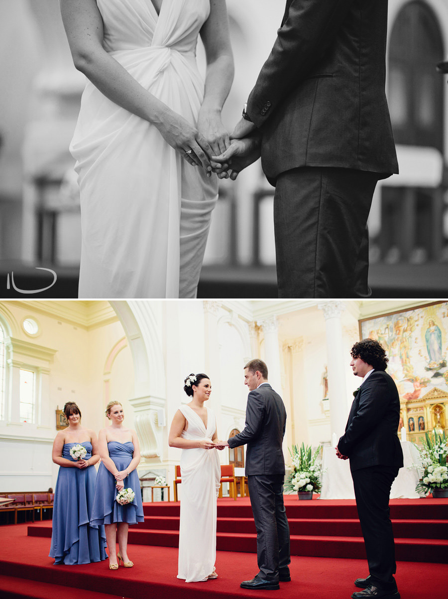 Eastern Suburbs Wedding Photography: Bride & groom holding hands during ceremony