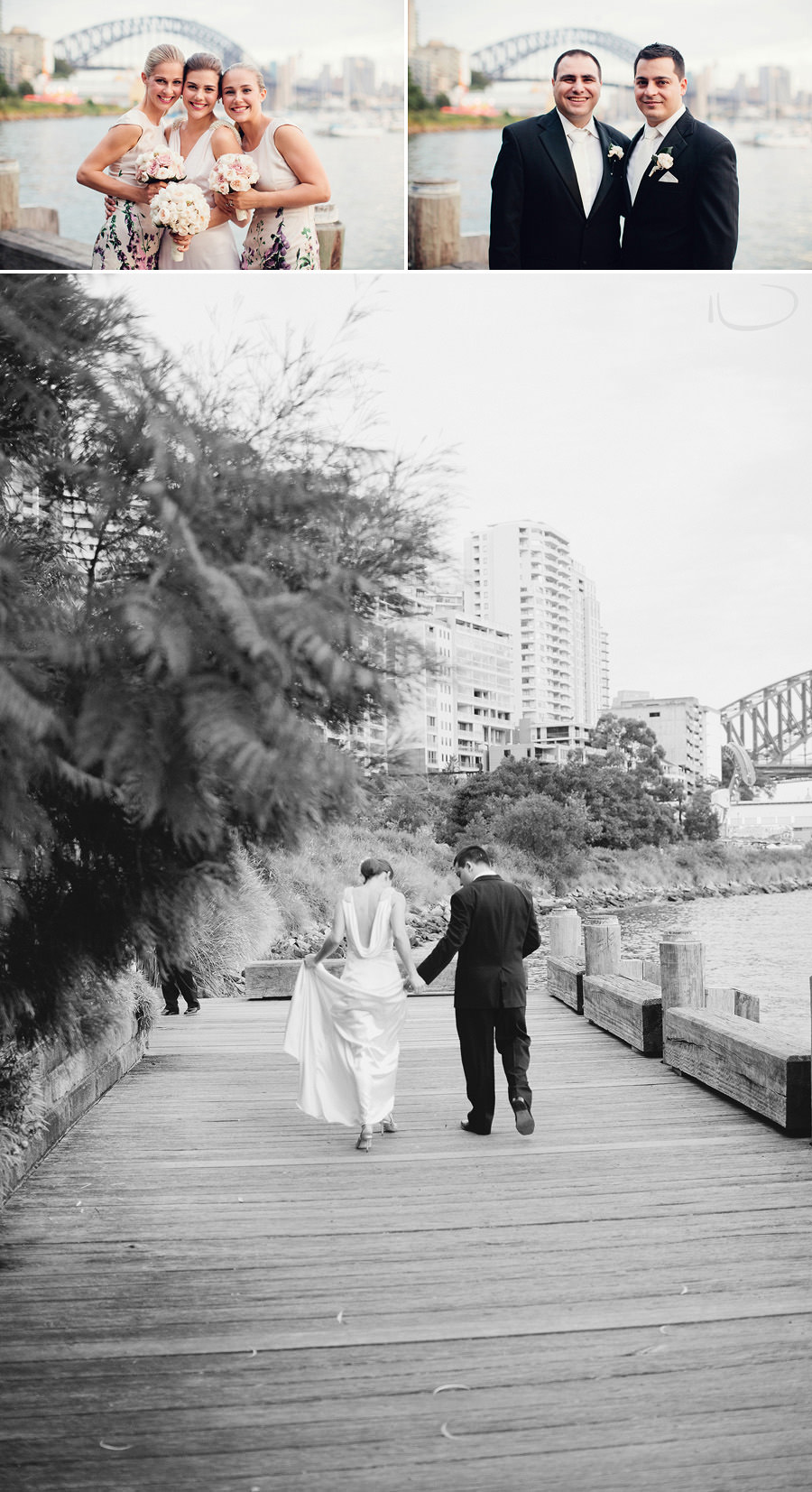 Elegant Wedding Photographer: Bride & groom walking along boardwalk
