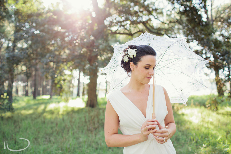 Elegant Wedding Photography: Bridal portrait wth parasol