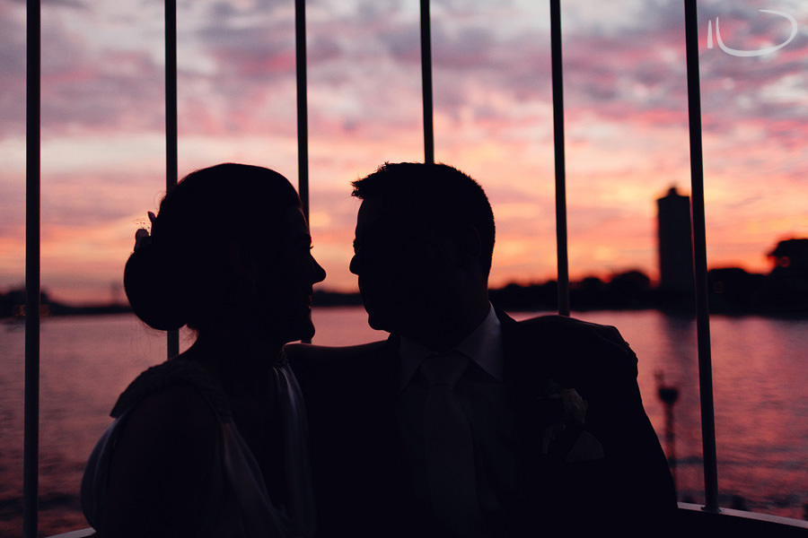 Luna Park Wedding Photography: Bride & groom sunset silhouette
