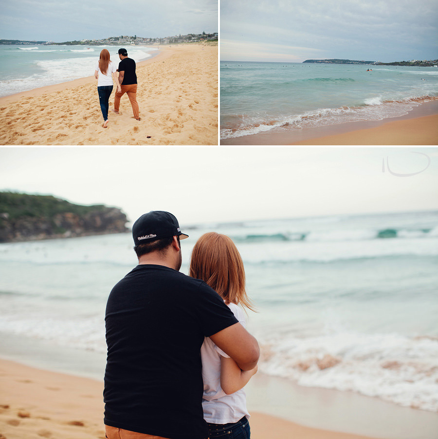 Sydney Engagement Photographer: Couple walking along beach