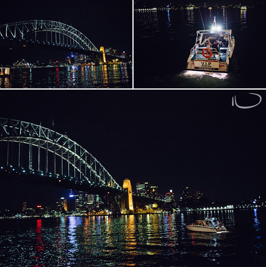 Sydney Wedding Photographers: Bride & Groom departing by water taxi