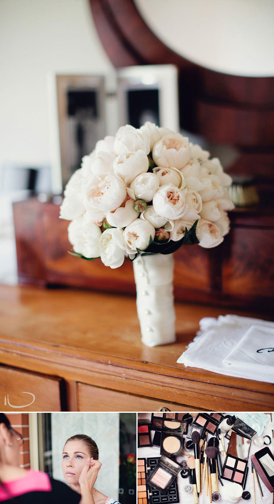 Sydney Wedding Photography: Bride's bouquet on parents dresser