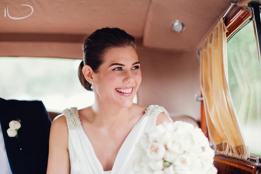 Wedding Photographers in Sydney: Bride in the back of Rolls Royce