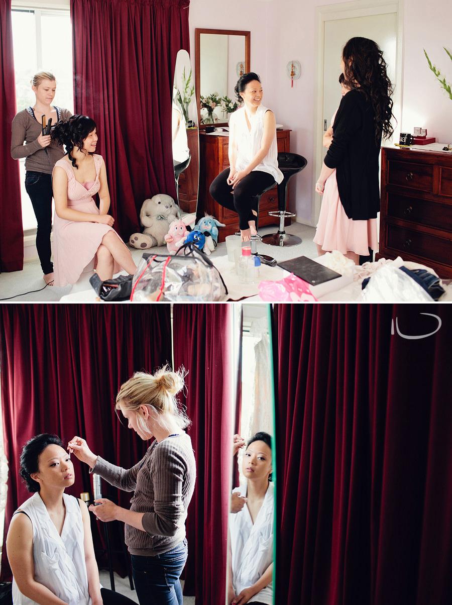 Hills District Wedding Photographer: Bride having makeup done