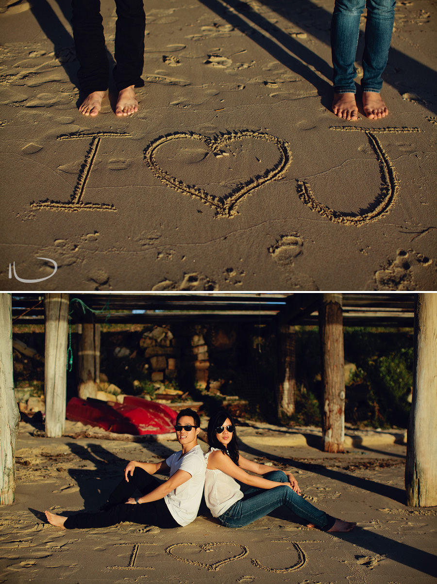 La Perouse Engagement Photography: Writing in the sand