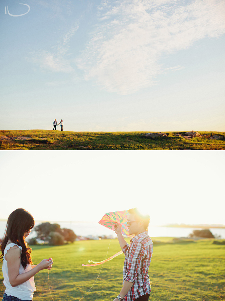 La Perouse Wedding Photographer: Couple flying kite
