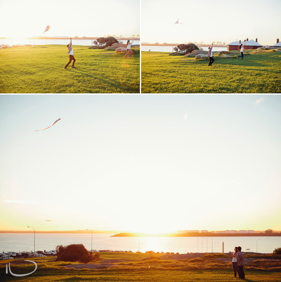 La Perouse Wedding Photographers: Couple flying kite during engagement session