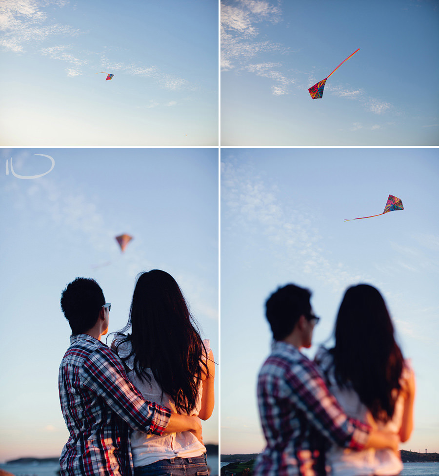 La Perouse Wedding Photography : Jasmine & Ivan flying kite at sunset