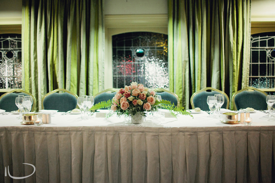 Marriot International Hotel Wedding Photographer: Bridal party table