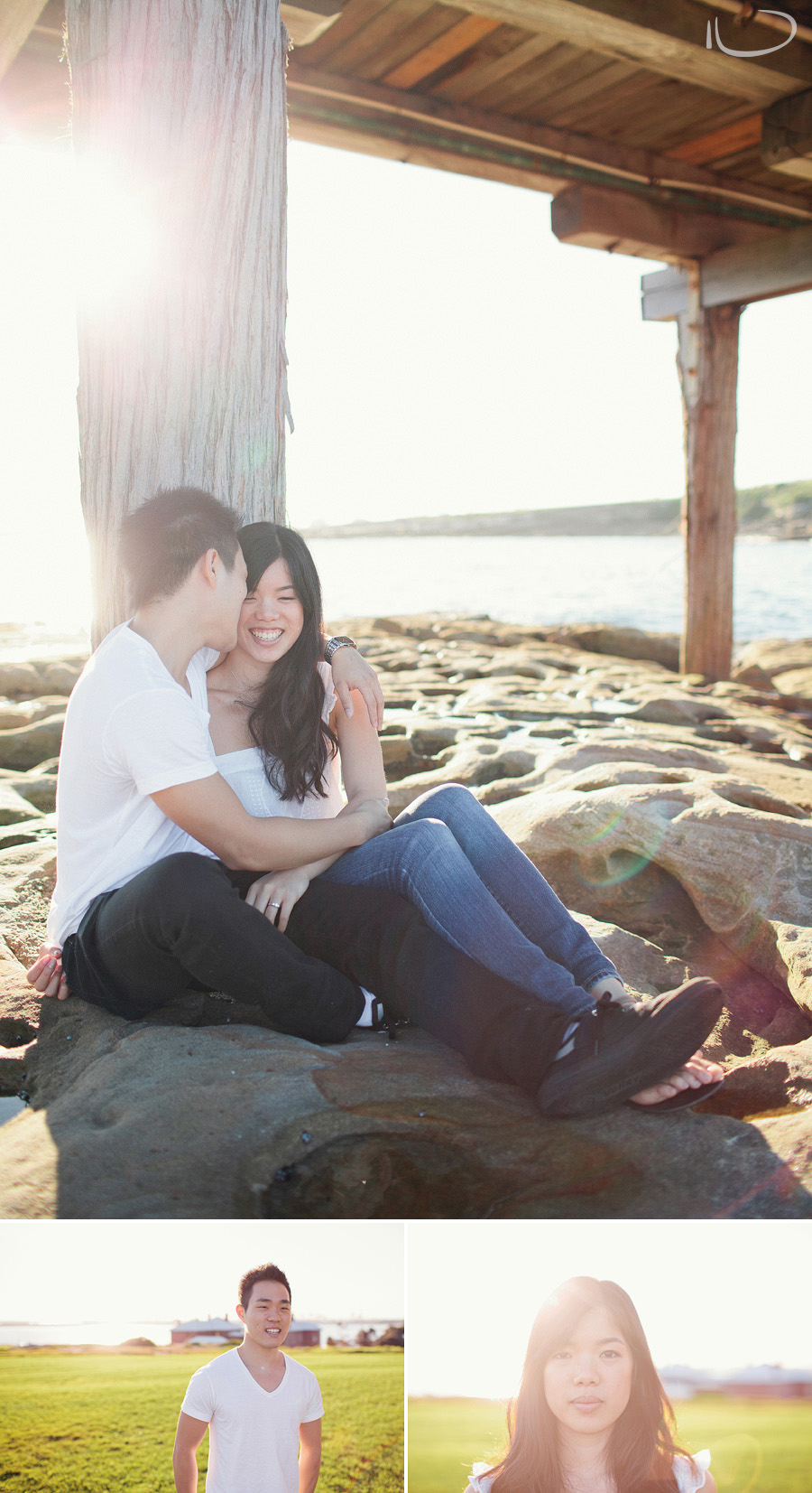 Sydney Engagement Photography: Jasmine & Ivan sitting under bridge