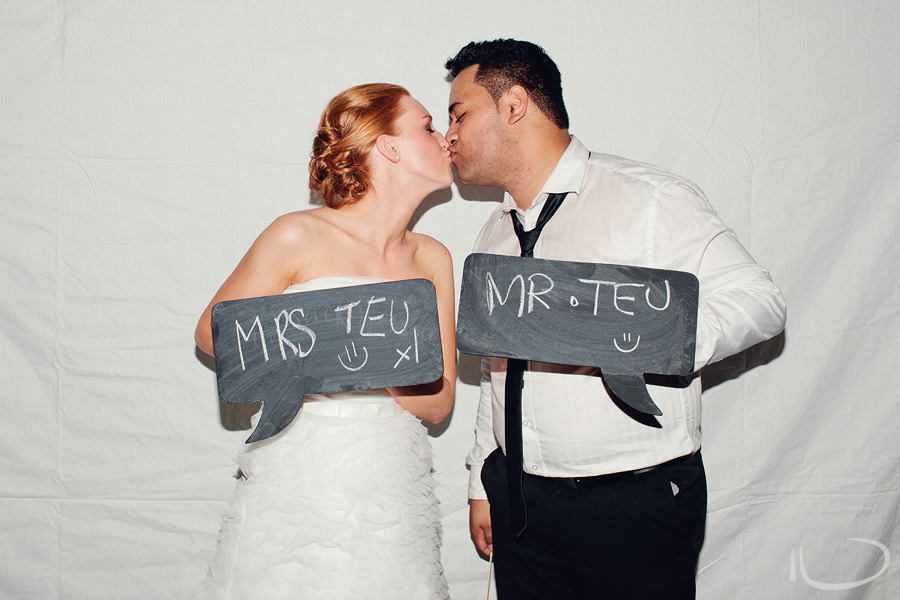 Sydney Wedding Photobooth: Bride & Groom kiss in photobooth