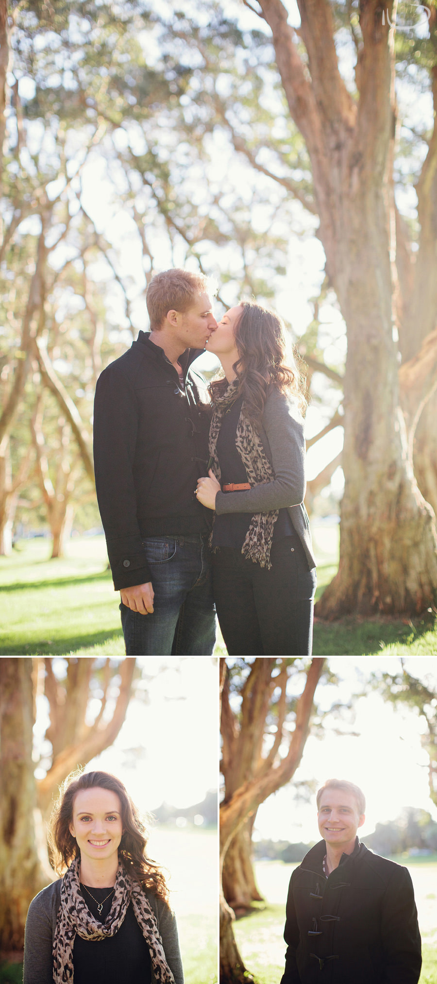 Sydney Wedding Photographers: Couple kissing in park