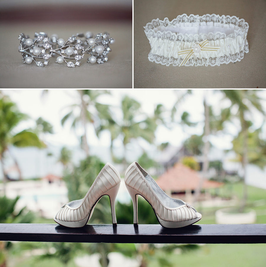 Fiji Wedding Photography: Bride's jewellery, garter & shoes