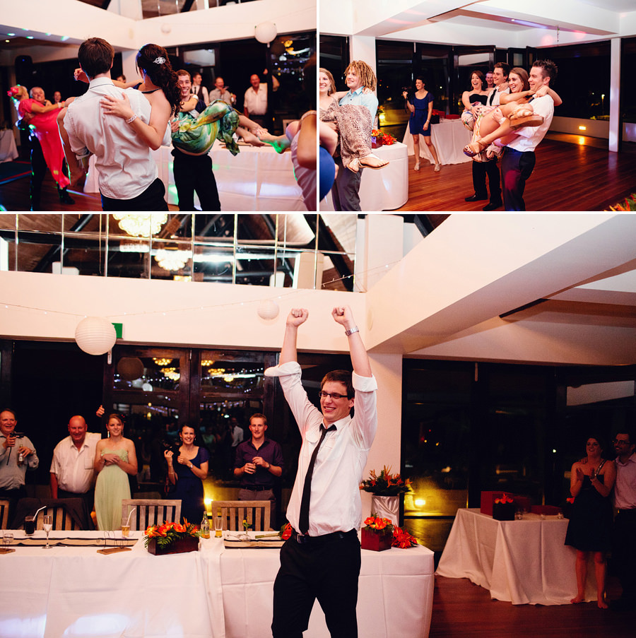 Pacific Harbour, Fiji Wedding Photographers: Garter game