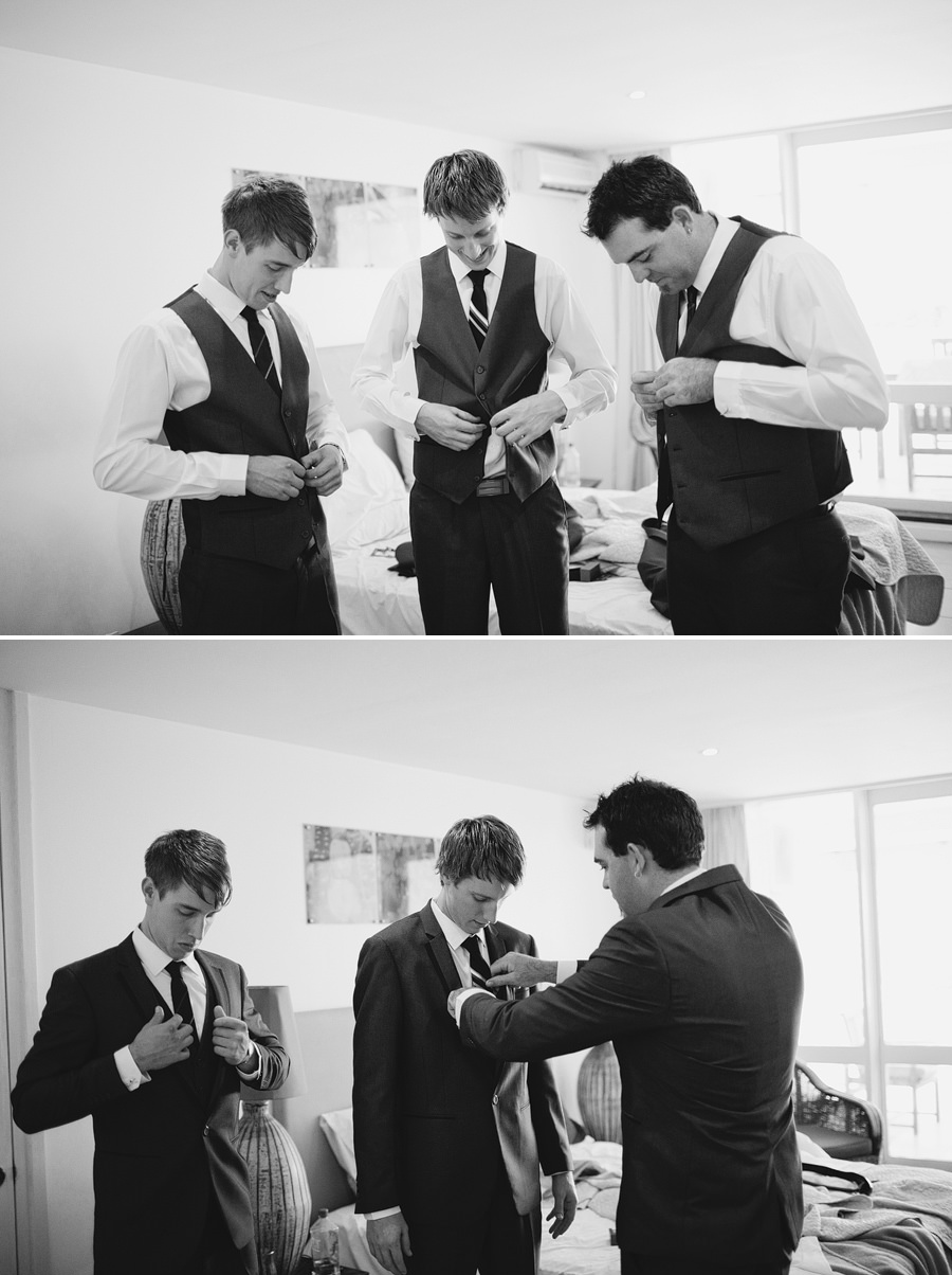 Pacific Harbour Wedding Photographers: Groom & groomsmen getting ready