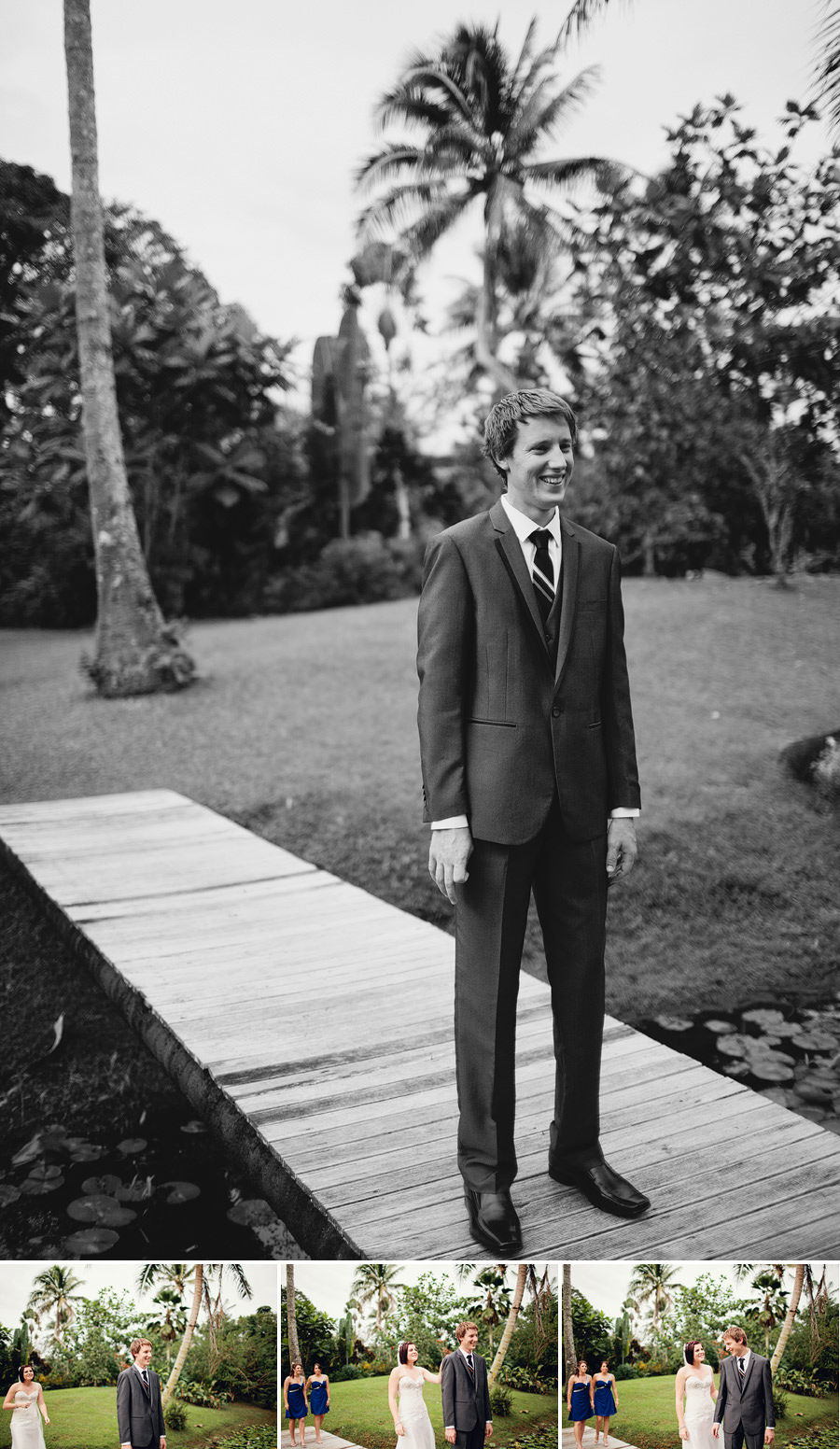 South Pacific Wedding Photography: Groom waiting at first look