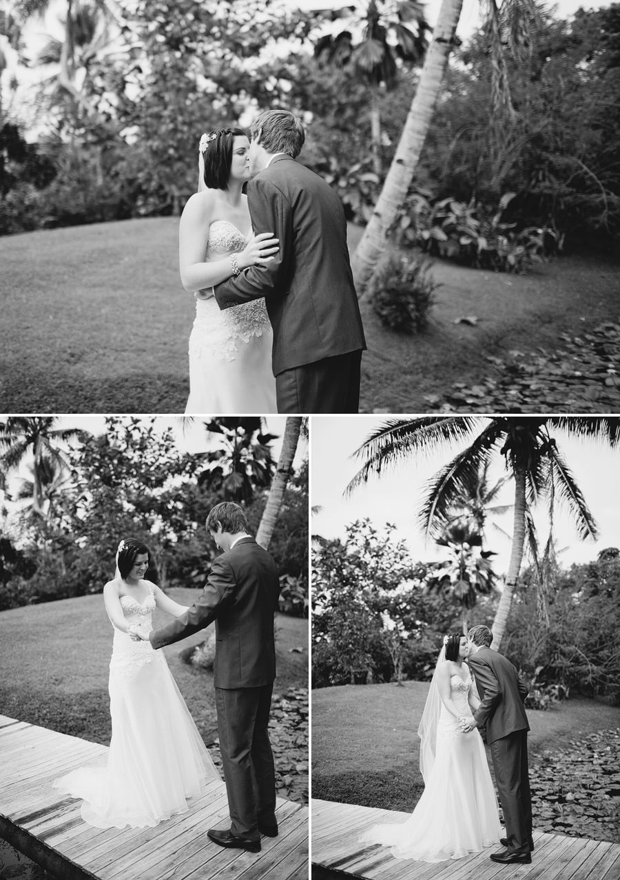The Pearl South Pacific Wedding Photographers: Bride & Groom during first look