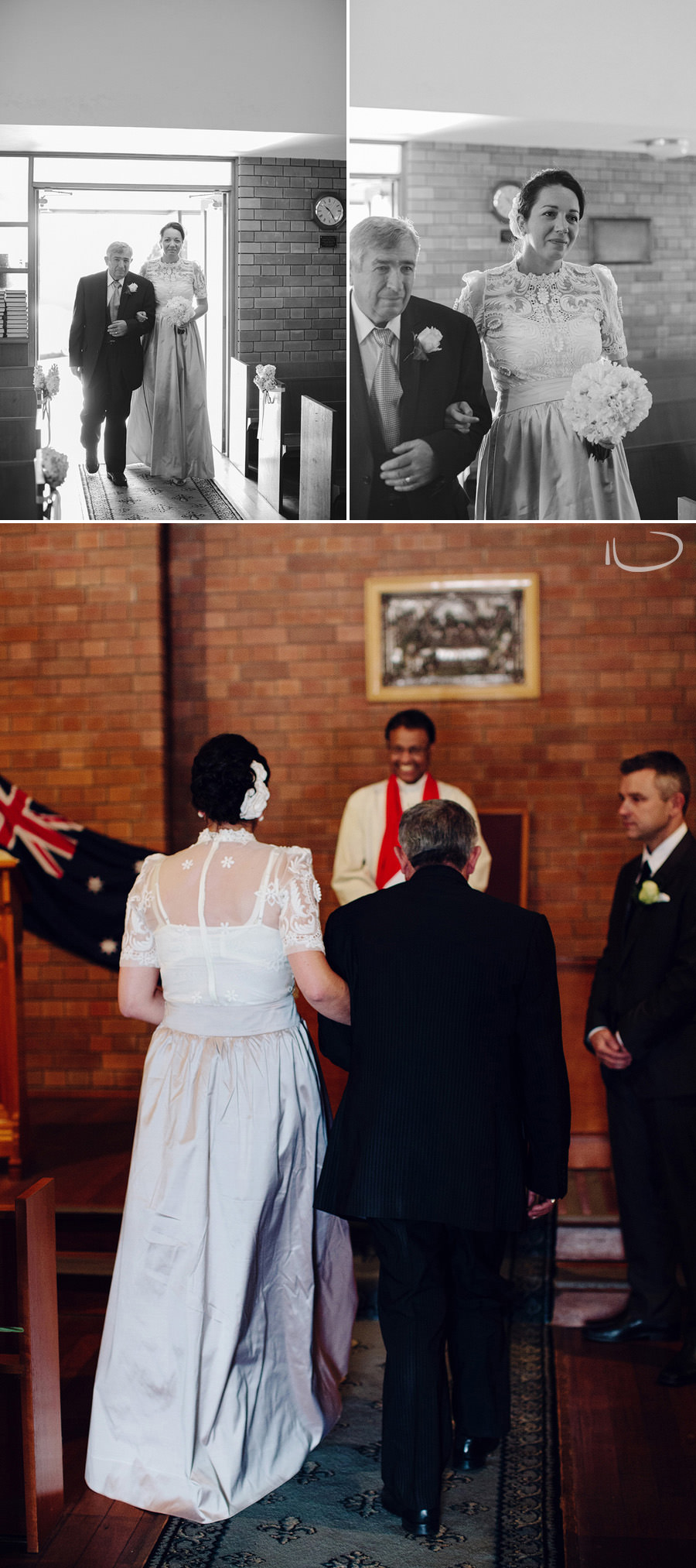 Eastern Suburbs Wedding Photographer: Bride & father walking down the aisle