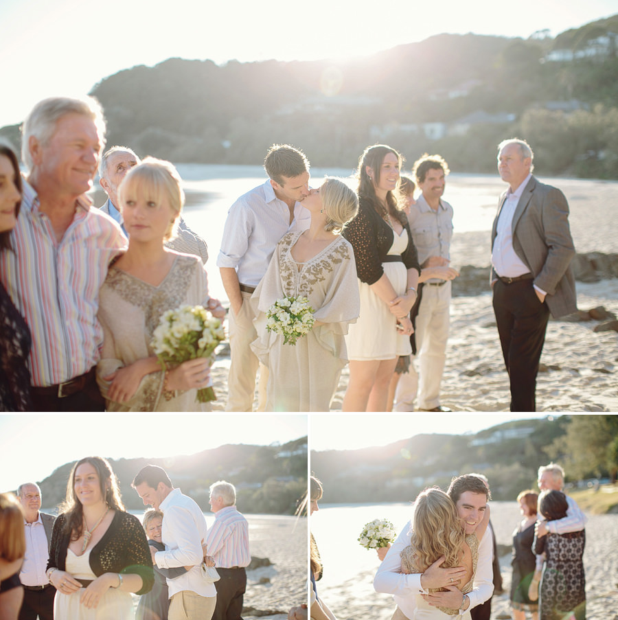 Beach Wedding Photography: Family hugs