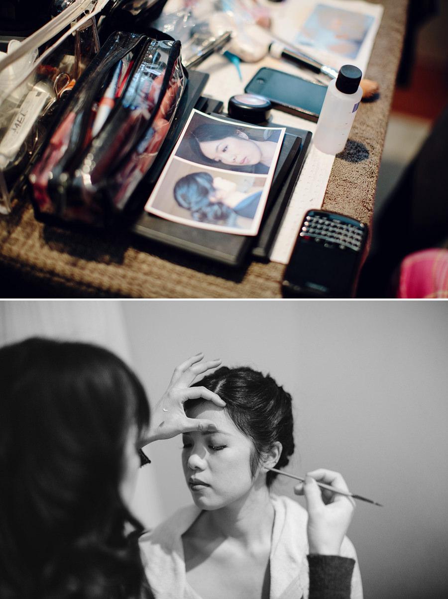Carlton Wedding Photographer: Bride having makeup done