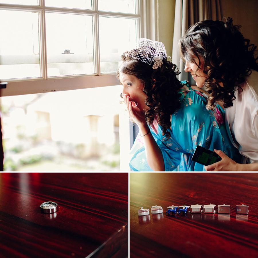 Hawksbury Valley Wedding Photographer: Bride & bridesmaid looking out window