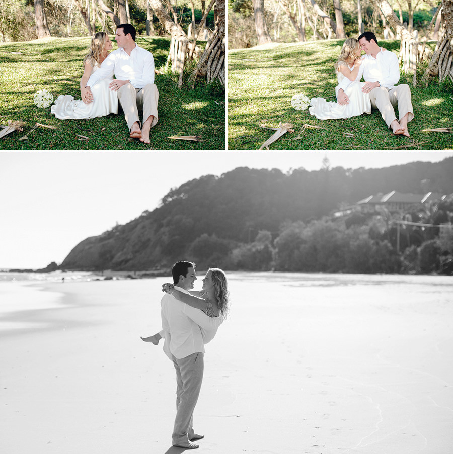 Modern Wedding Photographers: Groom carrying bride on beach