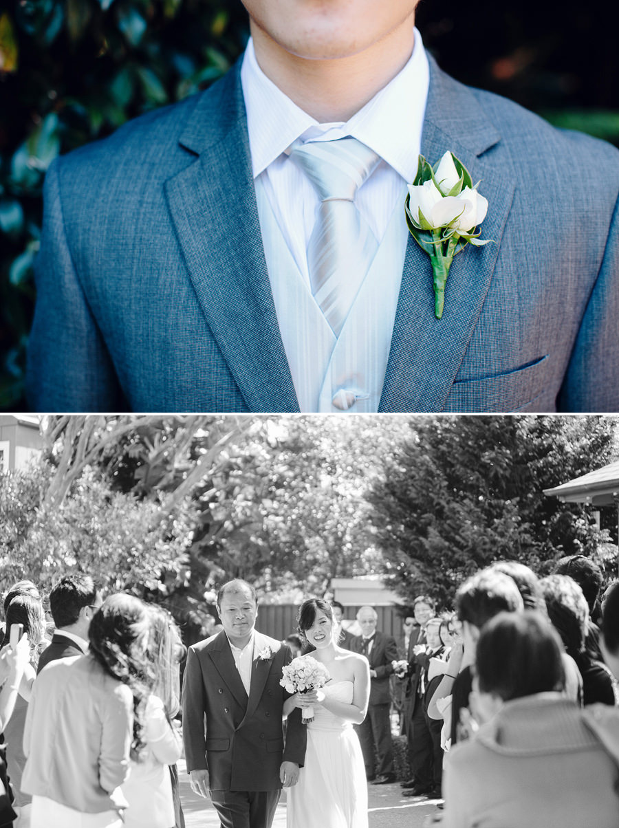 Peakhurst Gardens Wedding Photographer: Bride & father walking down the aisle