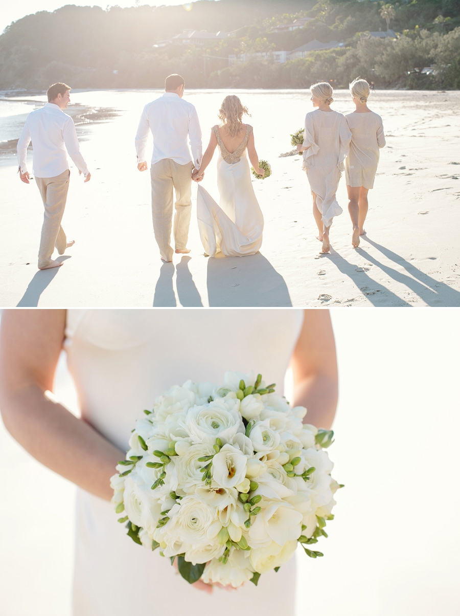 Romantic Wedding Photographer: Bridal party on beach