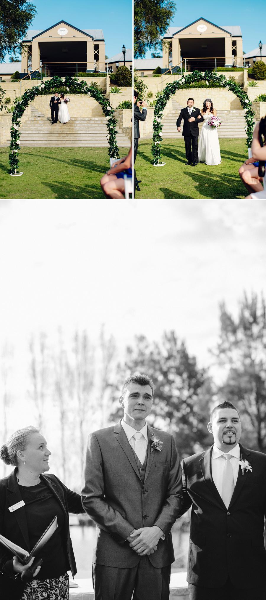 Sebel Hawksbury Valley Wedding Photographer: Bride & father walking down the aisle