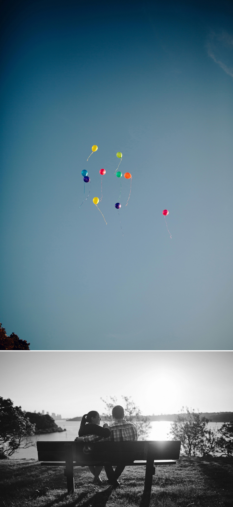 Vaucluse Engagement Photographery: Releasing balloons