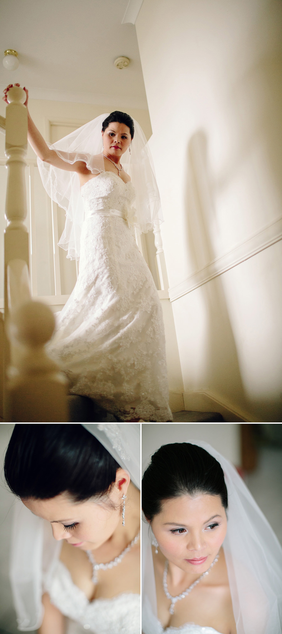 Asian Wedding Photography: Bride walking down stairs