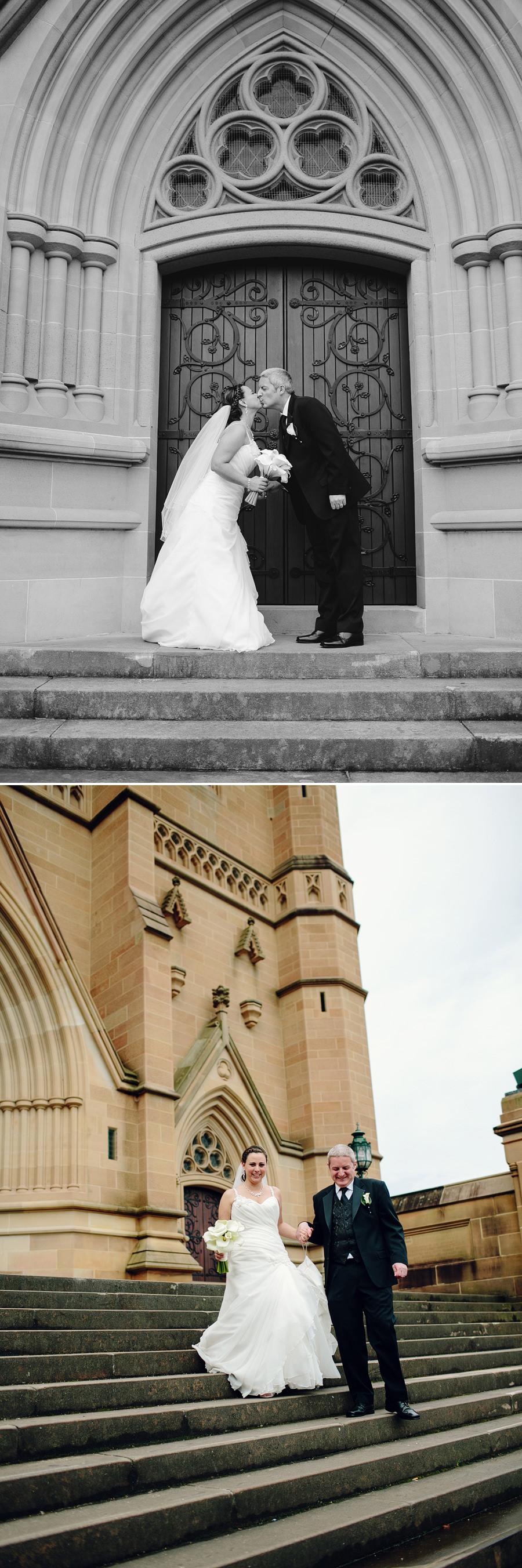 Catholic Wedding Photographers: Walking down cathedral steps