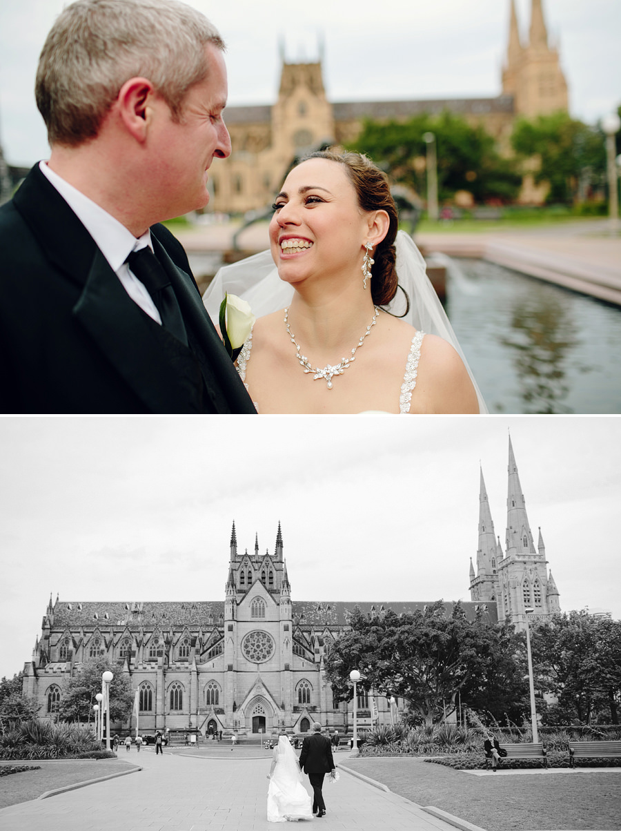 Catholic Wedding Photography: Bride & Groom outside cathedral