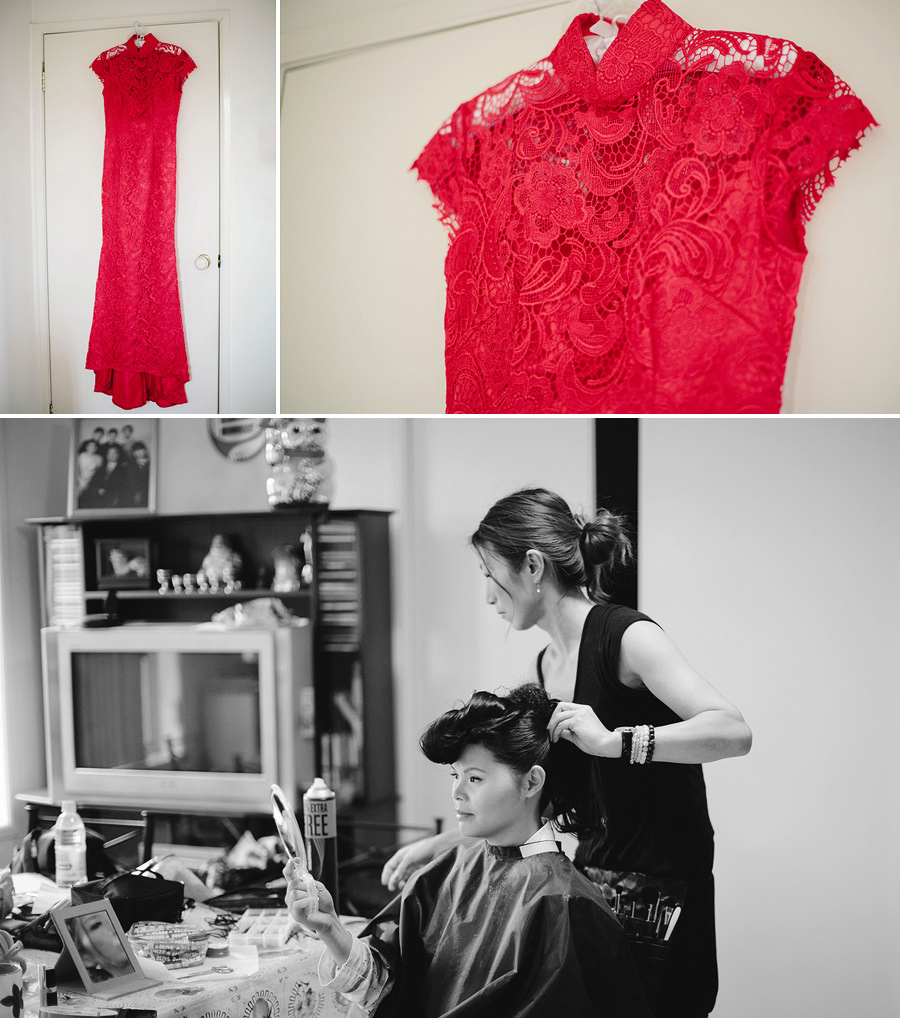 Chinese Wedding Photographer: Red dress & Bride having hair done