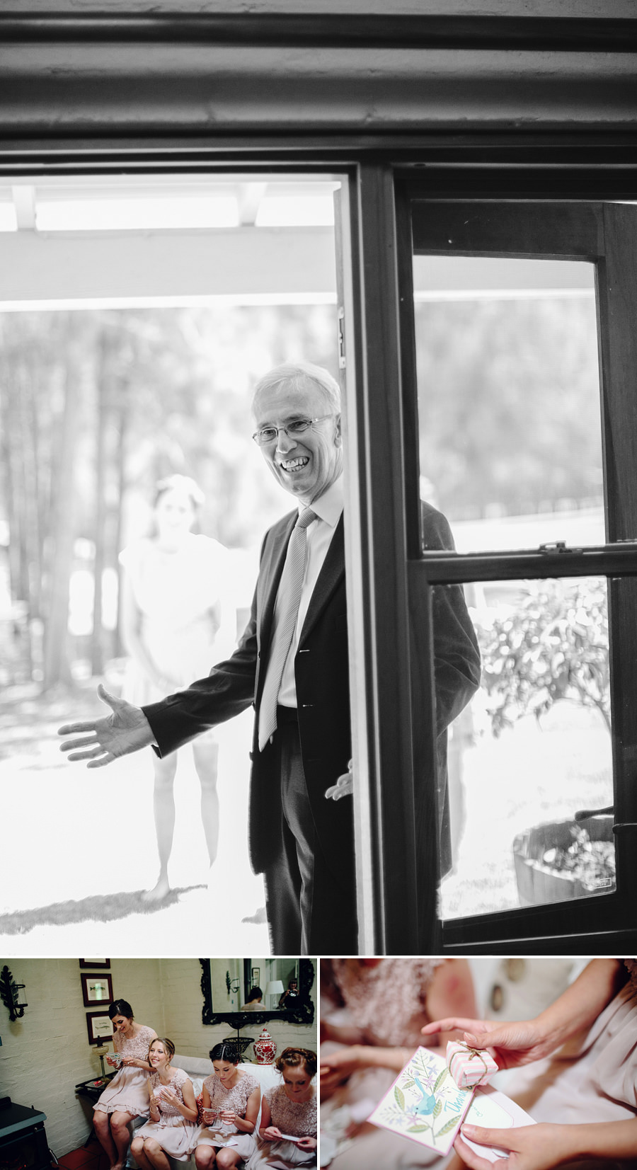 Documentary Wedding Photographers: Bride's father seeing bride