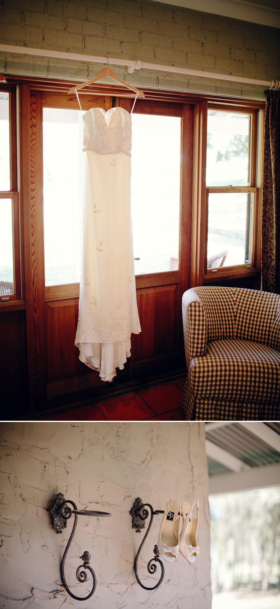 Rustic Wedding Photographer: Wedding dress hanging in window