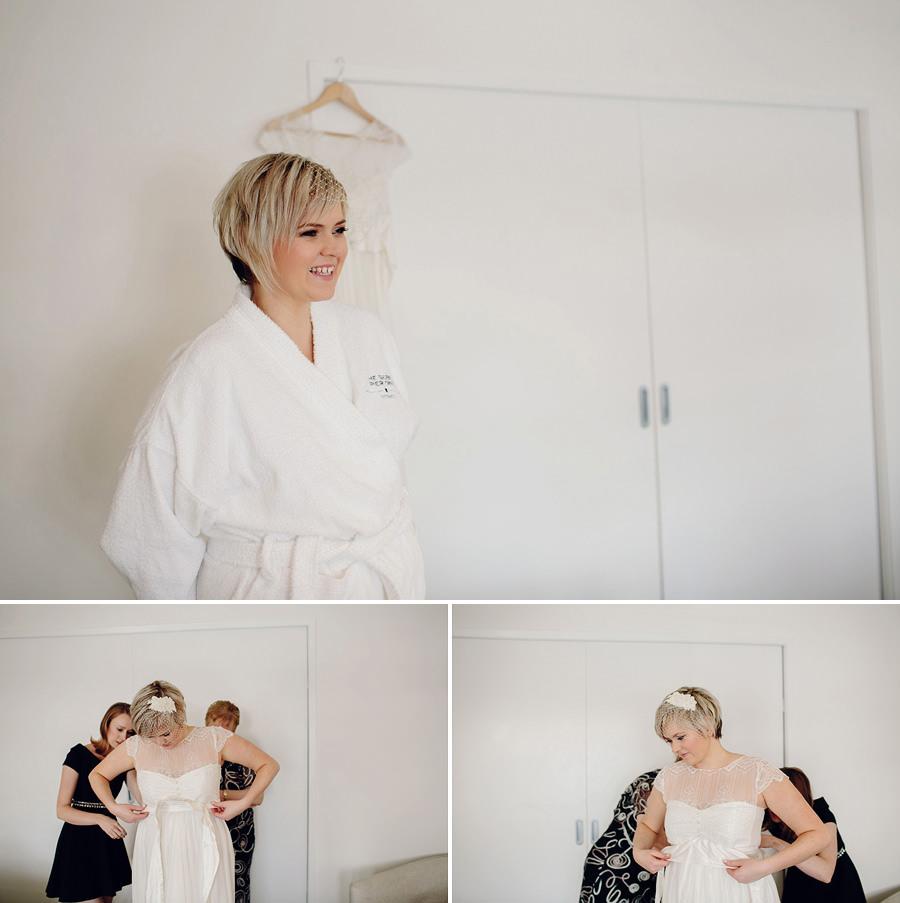 Sebel Wedding Photographer: Bride getting dressed