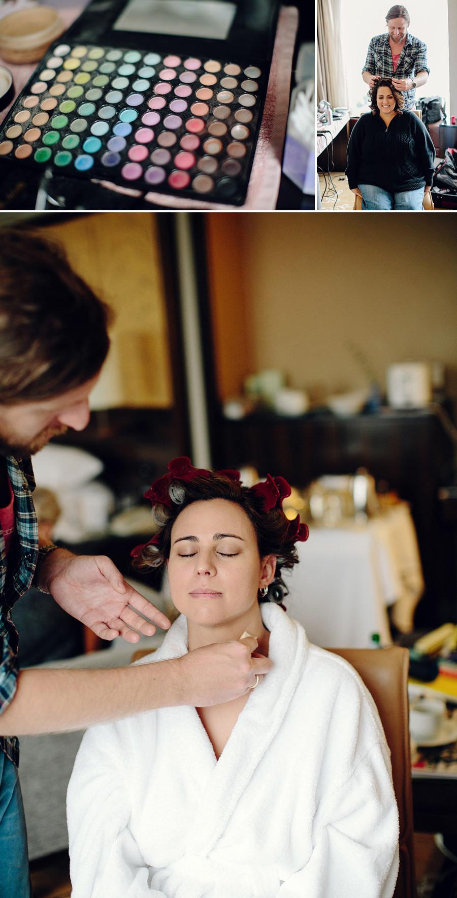 Shangri La Wedding Photographers: Bride having makeup done