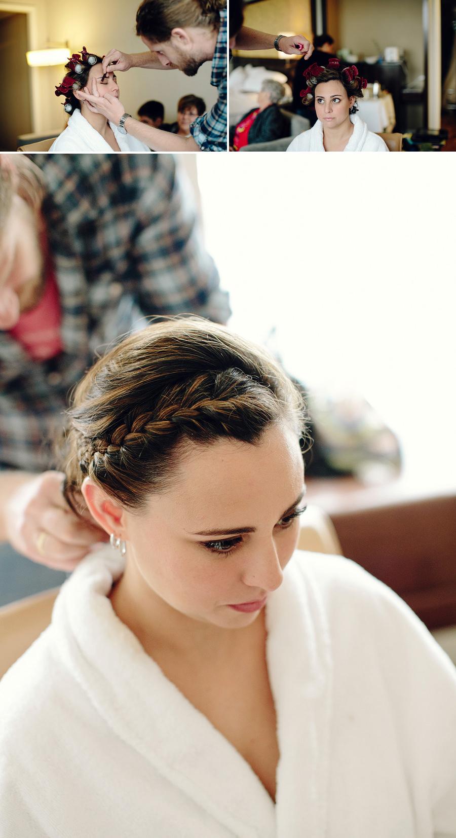 Shangri La Wedding Photography: Bride having hair done