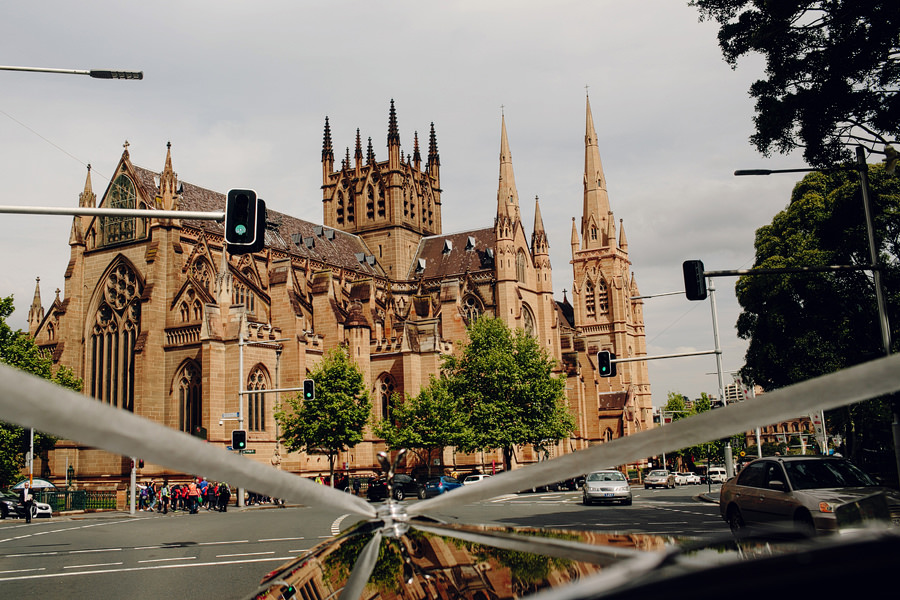 St Marys Cathedral Wedding Photographer: Bridal car