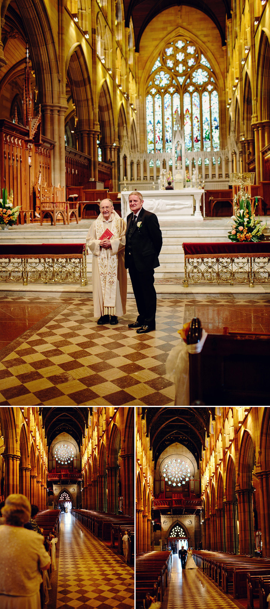 St Marys Cathedral Wedding Photography: Bride walking down the aisle