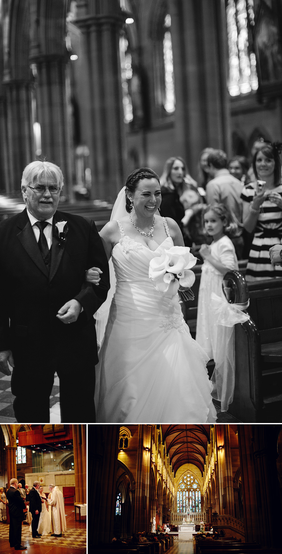 St Marys Wedding Photographer: Bride walking down the aisle